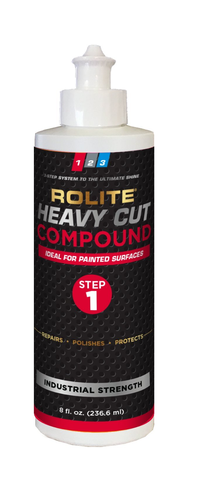 Rolite Heavy Cut Compound (8 fl. oz.) for Removing P1200 and Finer Scratches & Abrasion Marks for Automotive Clear-Coat Paints, Low Sling, No Mess
