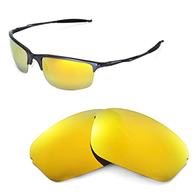 HKUCO Mens Replacement Lenses For Oakley Half Wire 2.0 Blue/Black/24K Gold Sunglasses A6n09wzx