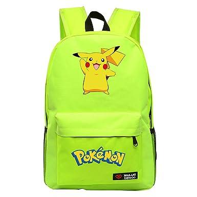 YOURNELO Cartoon Pokemon Rucksack School Backpack Bookbag for Boys Girls ( Pikachu Fluorescent Green2) 970e7316fd180