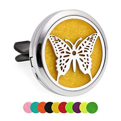 Werylee Car Diffuser Vent Clip Stainless Steel Car Aromatherapy Essential Oil Diffuser Air Freshener Vent Clip Locket with 10 Pcs Replacement Felt Pads(LC00029): Jewelry