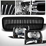 HS Power BLK HEAD LIGHTS+CORNER AMBER+GRILL 99-04 FORD F250 F350 SUPER DUTY/00+ EXCURSION