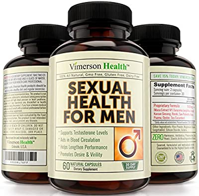 Sexual Health for Men Testosterone Booster - 100% All Natural & Non-Gmo Supplement for Male Enhancement & Extreme Strength. Increases Libido, Power, Endurance & Performance. 100% Money Back Guarantee
