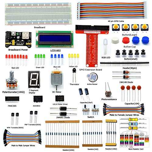 Adeept Starter Kit for Raspberry Pi 3, 2 Model B/B+, LCD1602, Motor, C and Python Code, Beginner/Starter Kit with User Manual/Guidebook