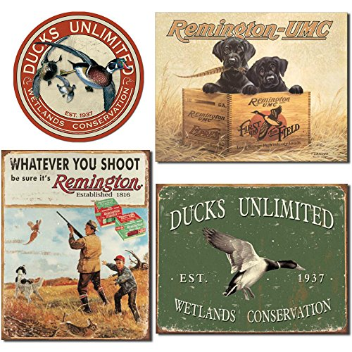 Ducks Unlimited Tin Sign and Remington Tin Sign Bundle - Ducks Unlimited Round, Remington Finder's Keepers, Remington Whatever You Shoot and Ducks Unlimited - Since -