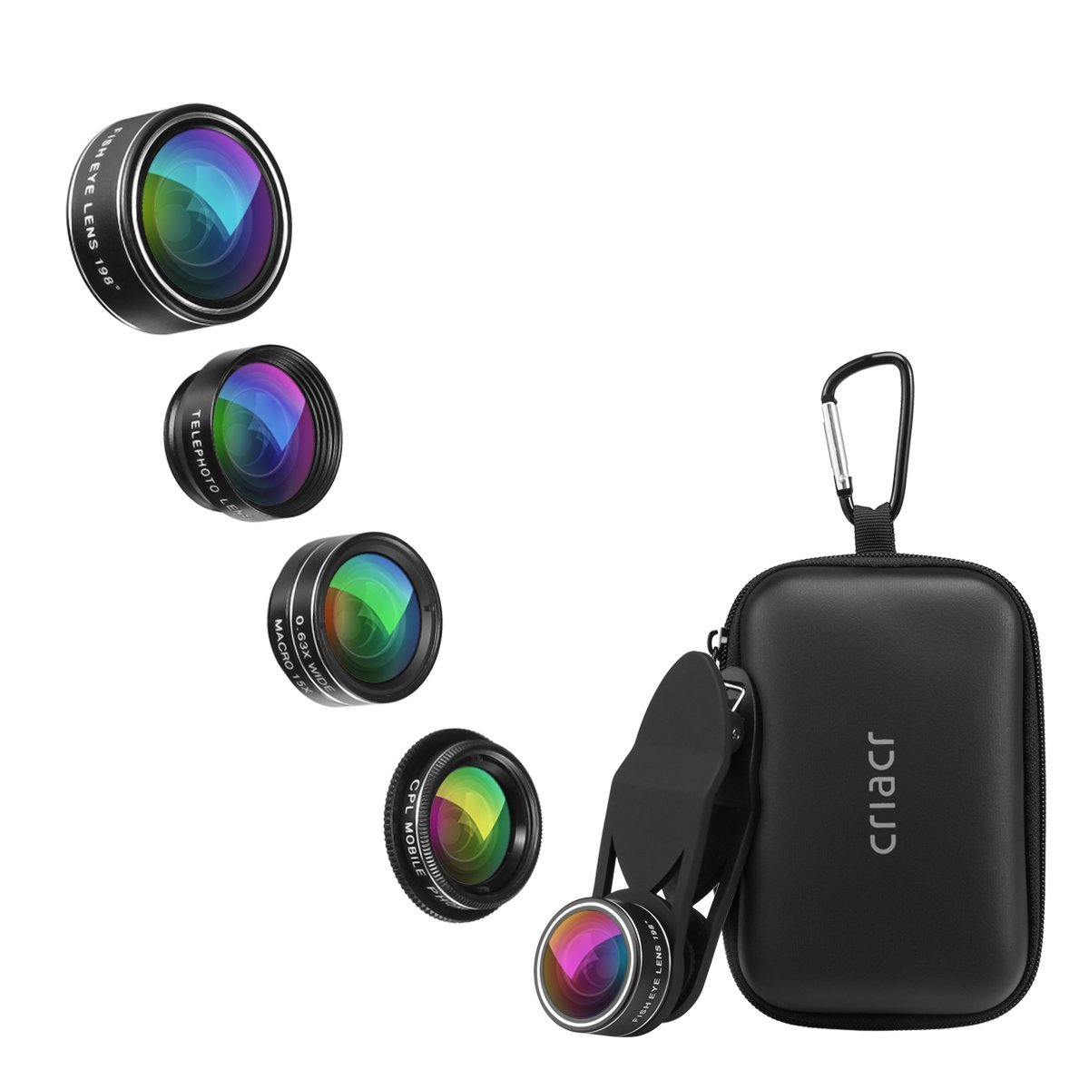 Criacr 5 in 1 Phone Camera Lens Kit, 2X Zoom Telephoto Lens + 198° Fisheye Lens + 0.63X Angle Lens & 15X Macro Lens (Attached Together) + Circular Polarized Lens for iPhone, Samsung, Smartphones AMIR