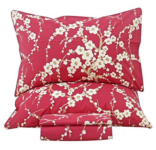 Queen's House Cherry Blossom Floral Branches Print Bed Sheet Set Luxury Hotel Quality Sheets and Pillowcases-Queen,G