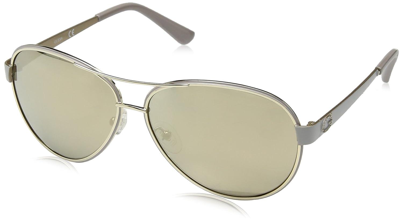 Guess Diamante G Logo Aviator Sunglasses in Shiny Rose Gold GU7443 28C 60 Beige Luc\Fumo Specchiato