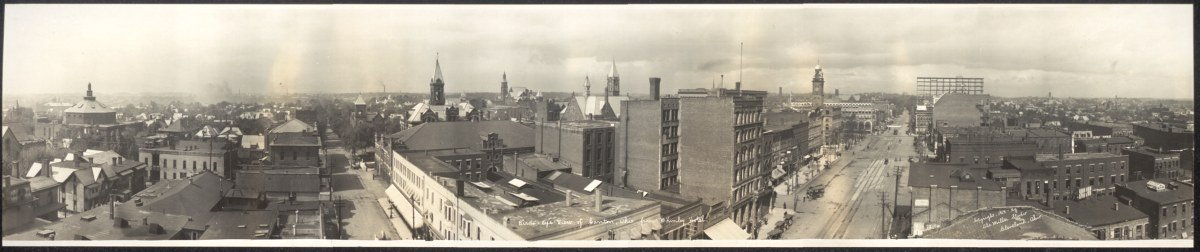 c1913 Birds eye view of Canton, Ohio from McKinley Hotel 42'' Vintage Panorama ph