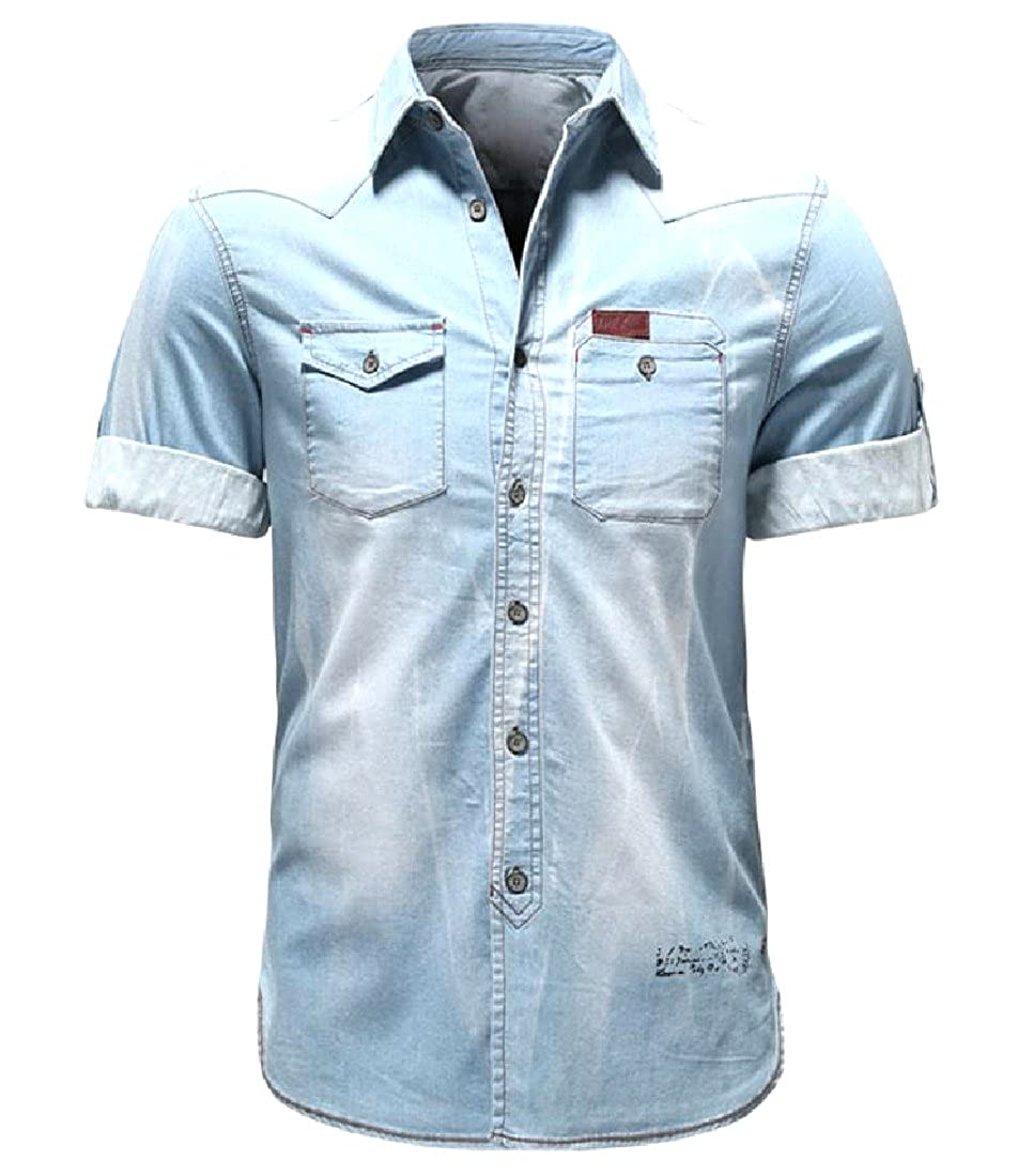 Fseason-Men Safari Regular Fit Summer Daily Rugged Wear Jean Shirt