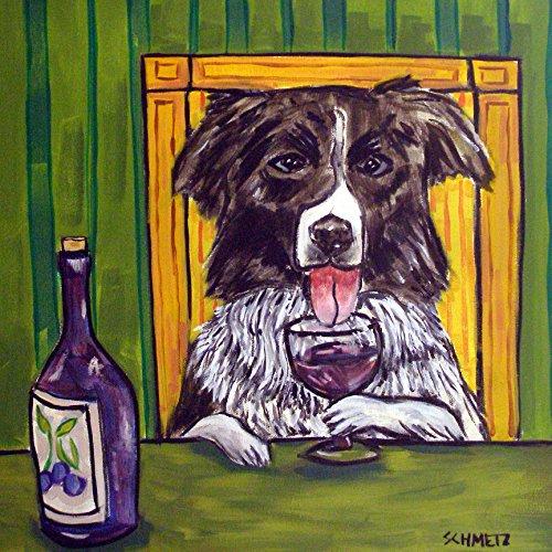 - Border Collie at the Wine Bar dog art tile coaster gift