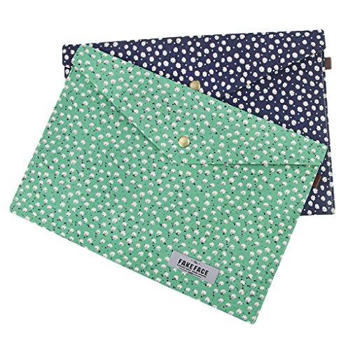 2 Pack Enveloped File Holder, Canvas Floral Document Paper Portfilio Briefcase,A4 School Home Office Organizer Storage Bag Snap Button, Clutch Filing Folders Bag,Green+Dark Blue