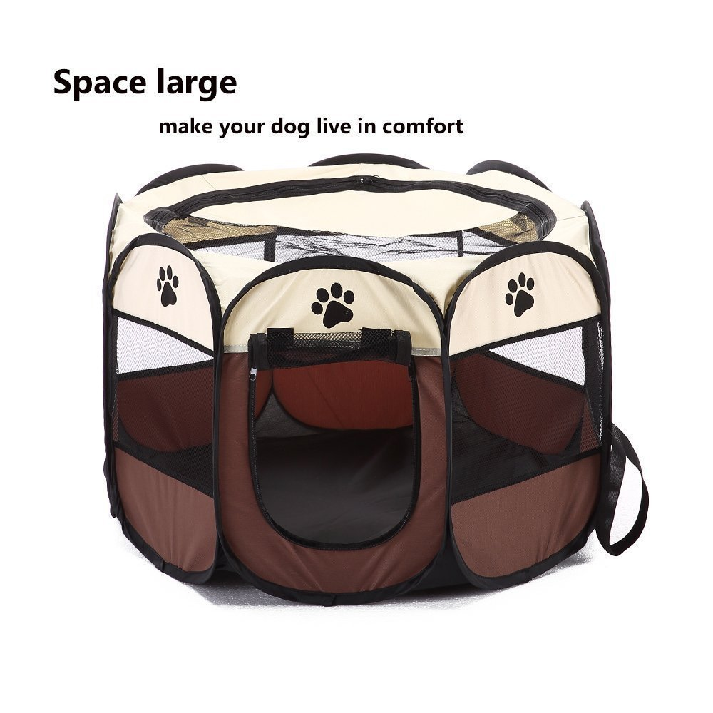 PETVANTAGE Pet PlayPen, Portable Foldable Folding Pet Carrier Tent Fabric House Playpen Crate Cage Kennel Tent Outdoor Indoor Fence For Dogs Cats