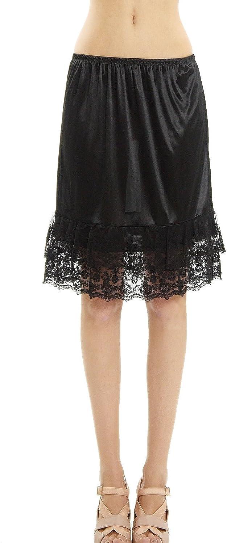 Amazon.com: Extensor de falda de satén de doble encaje y ...