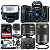 Canon EOS M50 Mirrorless Digital Camera + EF-M 15-45mm f/3.5-6.3 IS STM & EF-M 55-200mm f/4.5-6.3 IS STM Lens + Canon Speedlite 270EX II Flash + 64GB Memory Card + Extra Battery + Tripod + UV Filter
