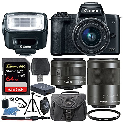 Canon EOS M50 Mirrorless Digital Camera + EF-M 15-45mm f/3.5-6.3 IS STM & EF-M 55-200mm f/4.5-6.3 IS STM Lens + Canon Speedlite 270EX II Flash + 64GB Memory Card + Extra Battery + Tripod + UV Filter by PHOTO4LESS