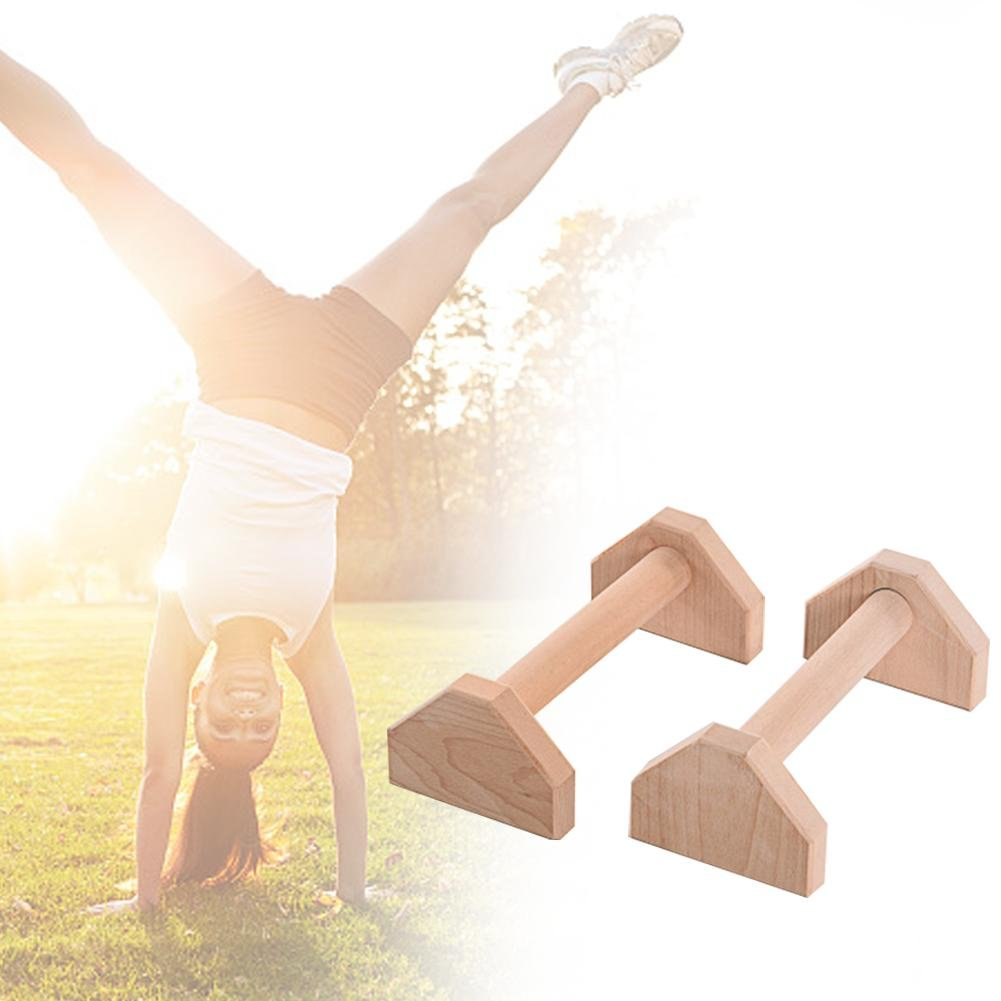 Junda 1 Pair of Push Up Bar Wooden Stretch Stand Calisthenics Handstand Single Double Handles Push-Ups Double Rod Women Men Protable Strength Training Equipment by Junda