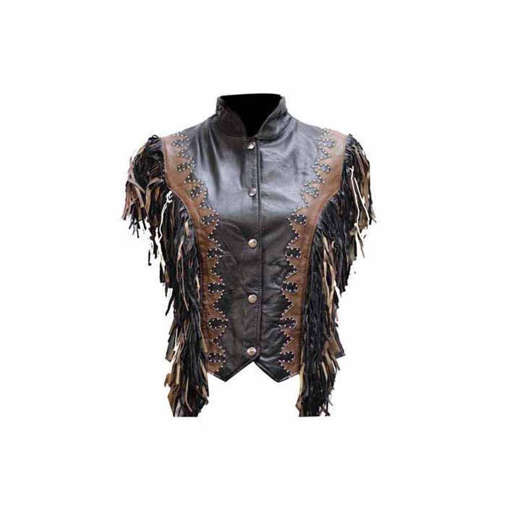 Ladies Black /& Brown Vest with Beads Snaps Braid /& Fringes Bone