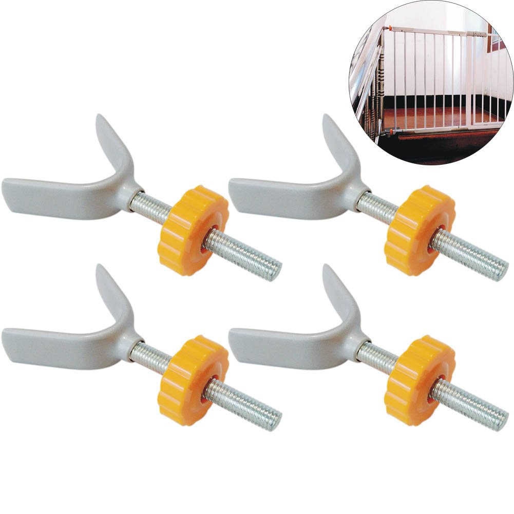 Olpchee 4PCS Metal Y Spindle Banister Rods Gates Installation Mounting Banister Safety Gate Accessories for Child Dog