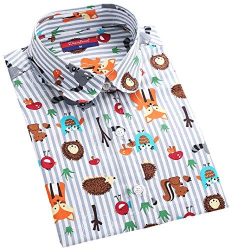 苗手がかり繰り返したDioufond 可愛いストライプ動物柄 ブラウスシャツ プリント ファッション トップス 丸襟長袖 綿素材
