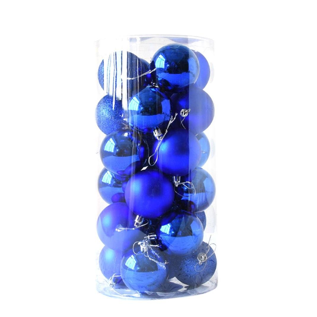 Christmas Balls,vmree 24Pcs(40mm) Christmas Tree Ball Bauble Ornaments Decorations Hanging Outdoor Home Decor (Blue)