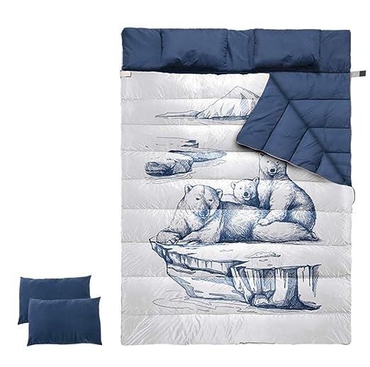Saco de dormir doble con una almohada, 2 persona resistente al ...