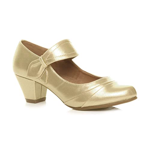 72307719cad52 Womens Ladies mid Heel Mary Jane Strap Smart Work Comfort Court Shoes Size