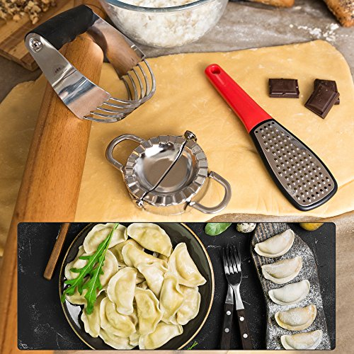 Stainless Steel Pastry Cutter Set - Dough Blender and Biscuit Cutters - Dough Whisk - Perfect as a Pie Crust Cutters or Butter Slicer - Dumpling Ravioli Maker by KiTheea by KiTheea (Image #3)