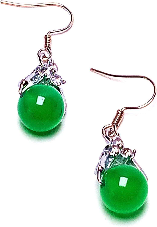 Pendientes de plata con cuenta de jade para mujer