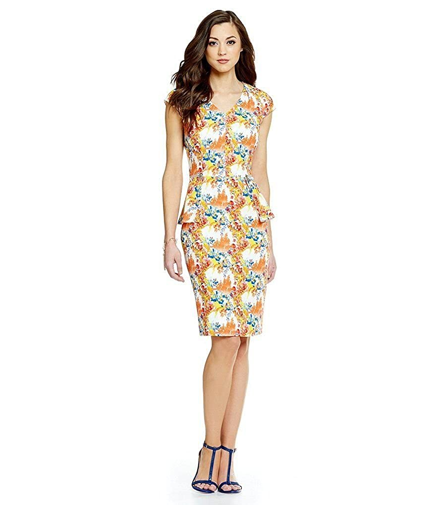 4b4385949511 Printed Cap Sleeve Crepe Fabrication Peplum silhouette Dress V-neck,  Non-Stretchable Fabric, Fully Lined Hidden Center Back Zipper Closure  Length approx.