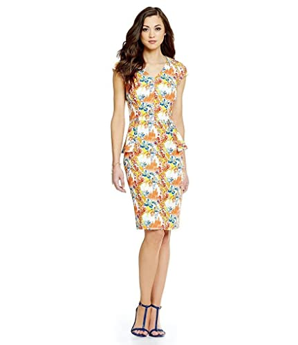 Antonio Melani Adalee Printed Crepe Dress Ivory/Sunkiss