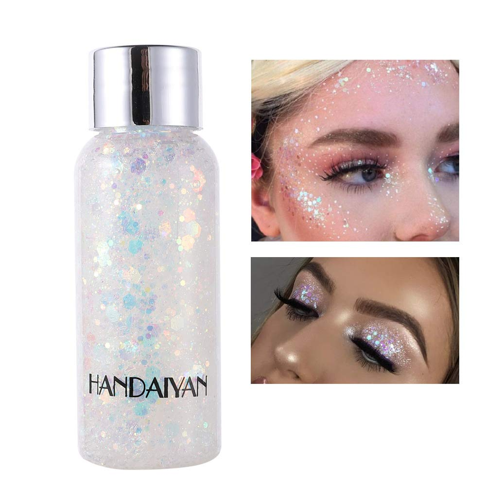 GL-Turelifes Mermaid Sequins Chunky Glitter Liquid Eyeshadow Glitter Body Gel Festival Glitter Cosmetic Face Hair Nails Makeup Long Lasting Sparkling 30g (09# White)