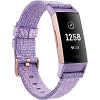 Fitbit Charge 3 NFC. Tracker Zdrowia i Fitnessu, Tkanina Lawendowa/Aluminium Różowe Złoto (W Zestawie Bransoletka…