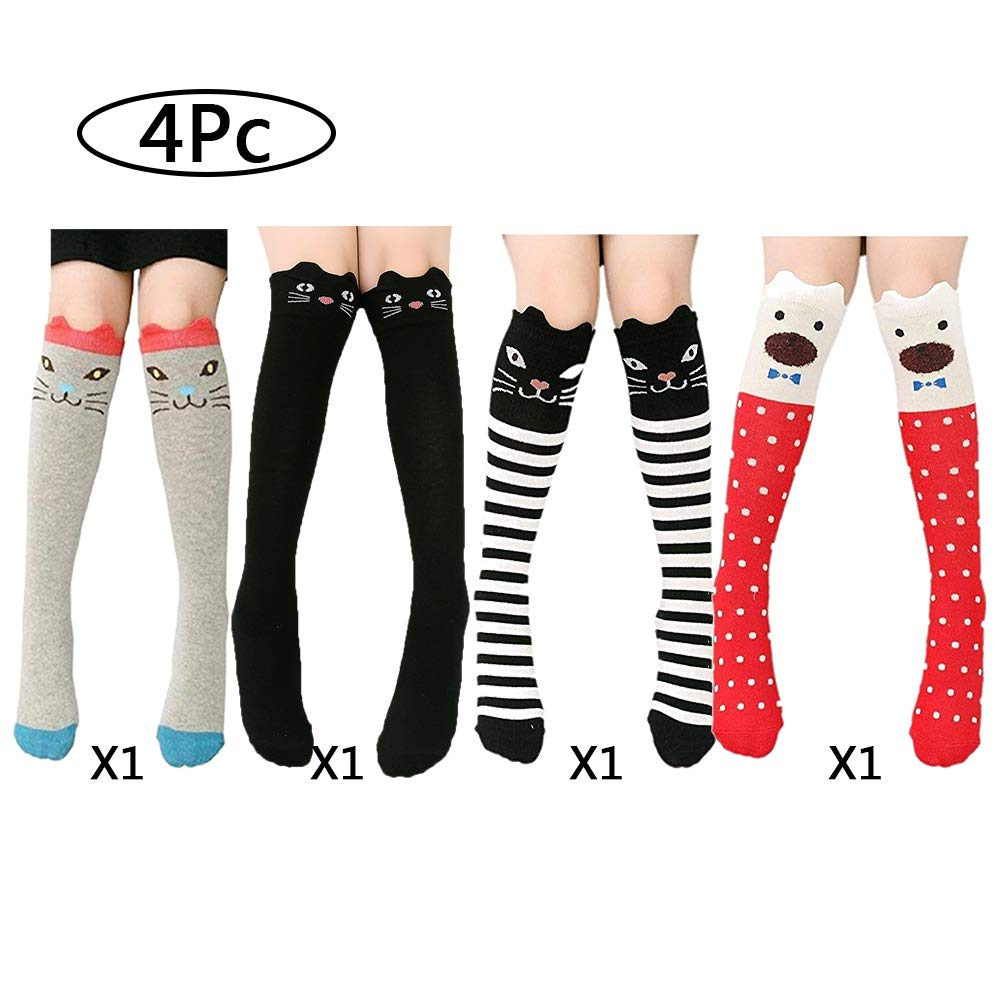 Knee high socks cute animal pattern soft warm cotton socks for girls kids children