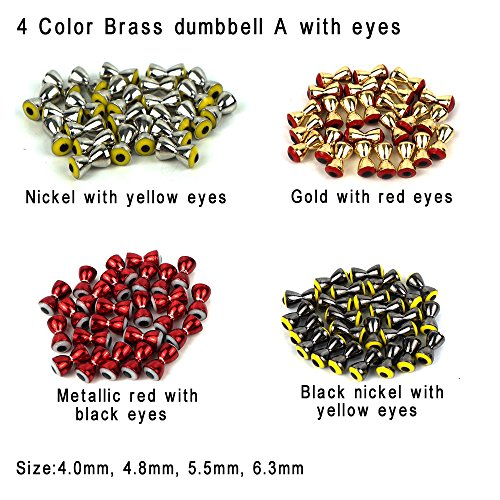 Aventik 25pc Pack Brass Dumbbell Shaped Fish Eyes Realistic Fly Tying Materials, Lure Jig, Easy to Use, Corrosion Resistant, Various Sizes & Colors for Trout, (Metallic red with White Eyes, 5.5mm)