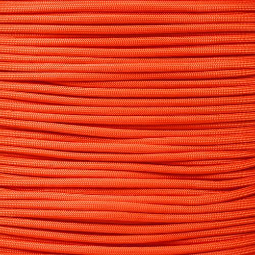 - PARACORD PLANET 750 LB Type IV Paracord Authentic Parachute Cord 11 Core Inner Strands Minimum Break Strength 750 lb 10, 25, 50, 100 Foot Hanks, 250, 1000 Foot Spools (Neon Orange, 250' Spool)