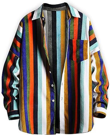 Rrive Men Stripe Hip Hop Plus Size Short-Sleeve Loose Fit Button Down Dress Work Shirt