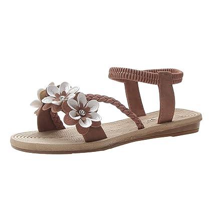 aa7472e1edbc9 YEZIJIN Hot Sale! Women's Ladies Summer Bohemian Flower Weave Flat Beach  Sandals Roman Shoes 2019