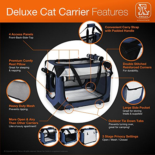 Soothing-Happy-Cat-Small-Soft-Sided-Cat-Carrier-Travel-Crate-Comfy-Plush-Sleep-Pillow-4X-Interior-Space-Airy-Windows-Sunroof-Collapses-Folds-Lightweight-Stylish-Washable-Reduces-Anxiety
