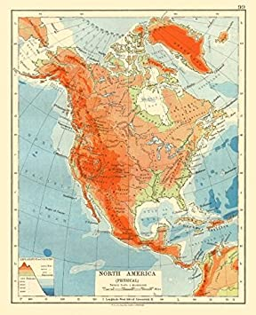 North America Physischer Relief Schlussel Gebirge Hohen Ocean