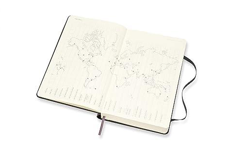 Moleskine - Agenda diaria de 18 meses, académica 2019/2020 con tapa dura y goma elástica, color negro, tamaño grande 13 x 21 cm, 608 páginas