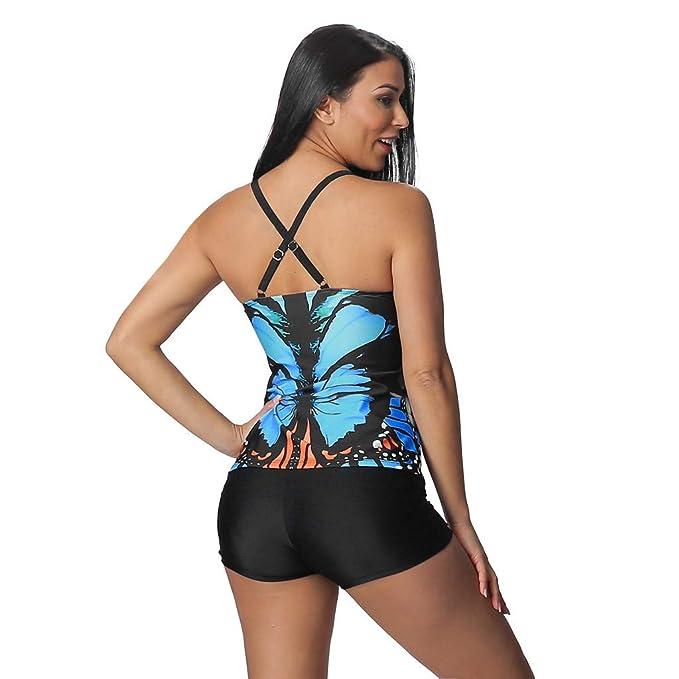 de95bdfef07 Amazon.com: FEDULK Women's Plus Size Butterfly Print Tankini Swimsuits with Boyshorts  Swimwear Padded Beachwear S-XXXXXL: Clothing