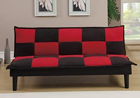 1PerfectChoice Living Furniture Adjustable Sofa Bed Futon Couch Black Red  Checkered Microfiber