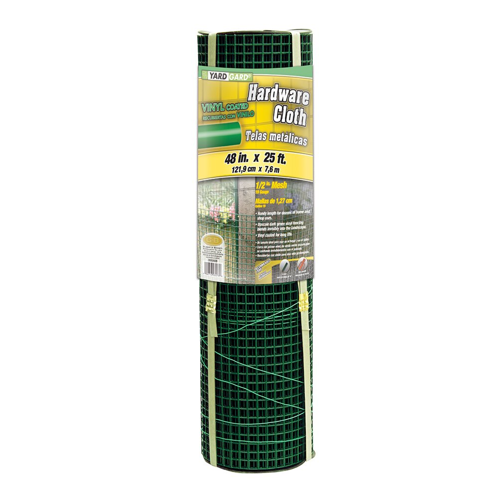 YARDGARD 308260B 1/2 Inch Mesh, 48 Inch by 25 Foot 19 Gauge Green PVC Coated Hardware Cloth by YARDGARD (Image #1)