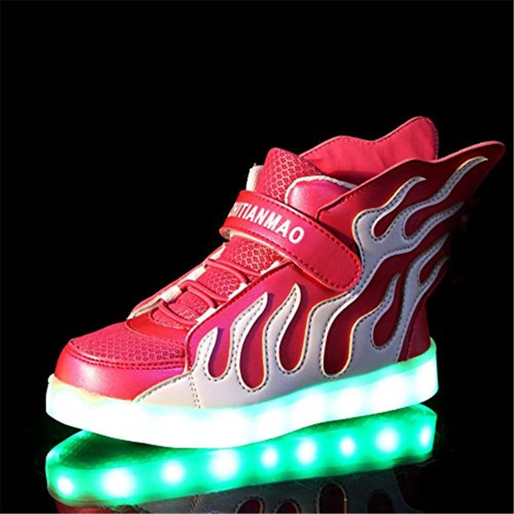 Kids 4 Colors Wings Velcro LED Light Up Flashing Sneakers Flashing Shoes for Boys Girls
