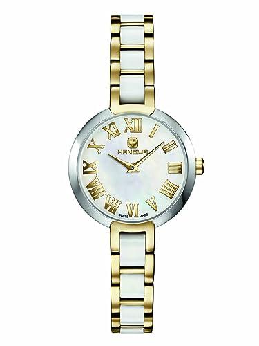Hanowa Mujer Reloj Suiza de acero inoxidable cerámica dorado colores blanco 16 - 7057.55.001: Amazon.es: Relojes