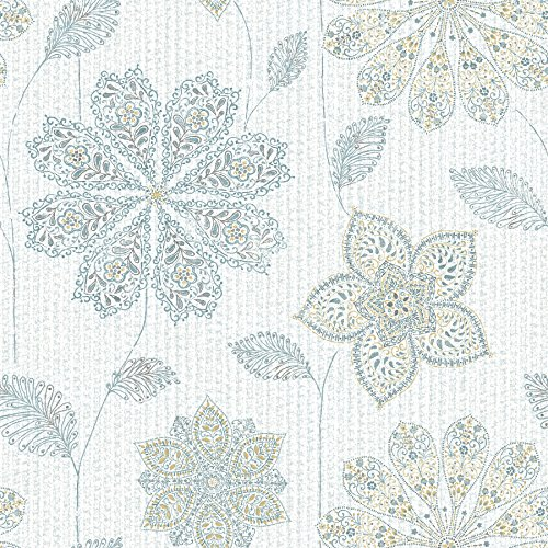 Green Wallpaper Kitchen - NuWallpaper NU1697 Peel & Stick Gypsy Floral Blue/Green Peel and Stick Wallpaper