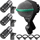 Audio-Technica ATM230 Tom Microphone 3-Pack with AKG D112 MKII Kick Drum Microphone and Cables