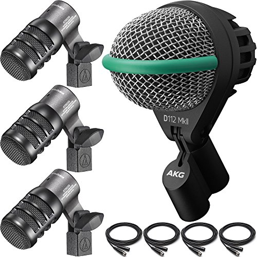 Audio-Technica ATM230 Tom Microphone 3-Pack with AKG D112 MKII Kick Drum Microphone and Cables by FP Logistics, Audio-Technica, AKG