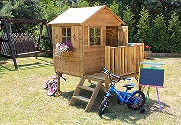 Baumotte Spielhaus Holz - Kinderspielhaus ?donatello? Mit Rutsche ... Kinder Spielhaus Garten