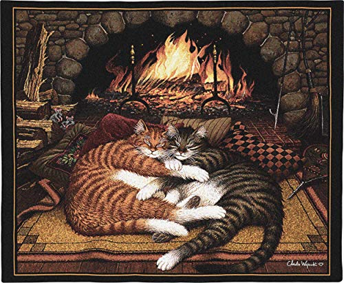All Burned Out by Charles Wysocki | Woven Tapestry Wall Art Hanging | Tabby Cats Cuddle by Fireplace - Fun Cat Lover's Gift | 100% Cotton USA Size 34x26